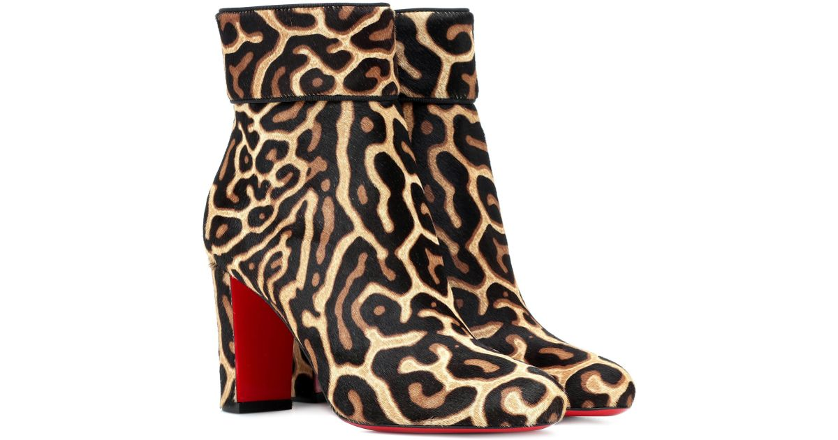 b74da4d4f6b8 Lyst - Christian Louboutin Moulamax 85 Calfhair Ankle Boots in Natural