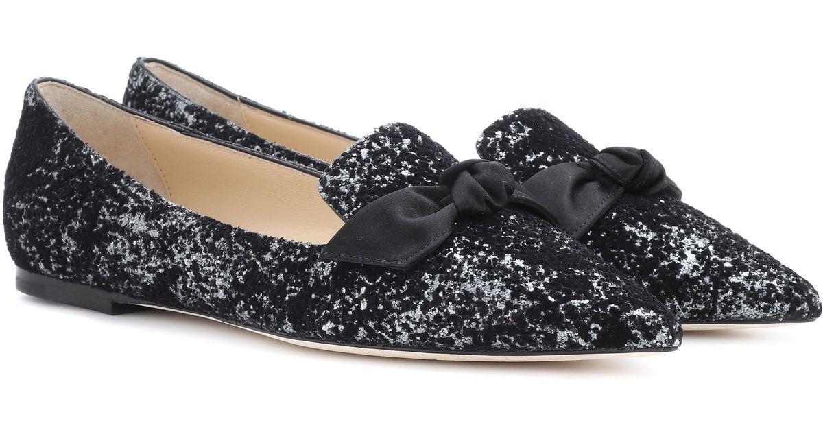 e1e26e592c0 Lyst - Jimmy Choo  gabie  Glitter Ballet Flats in Black