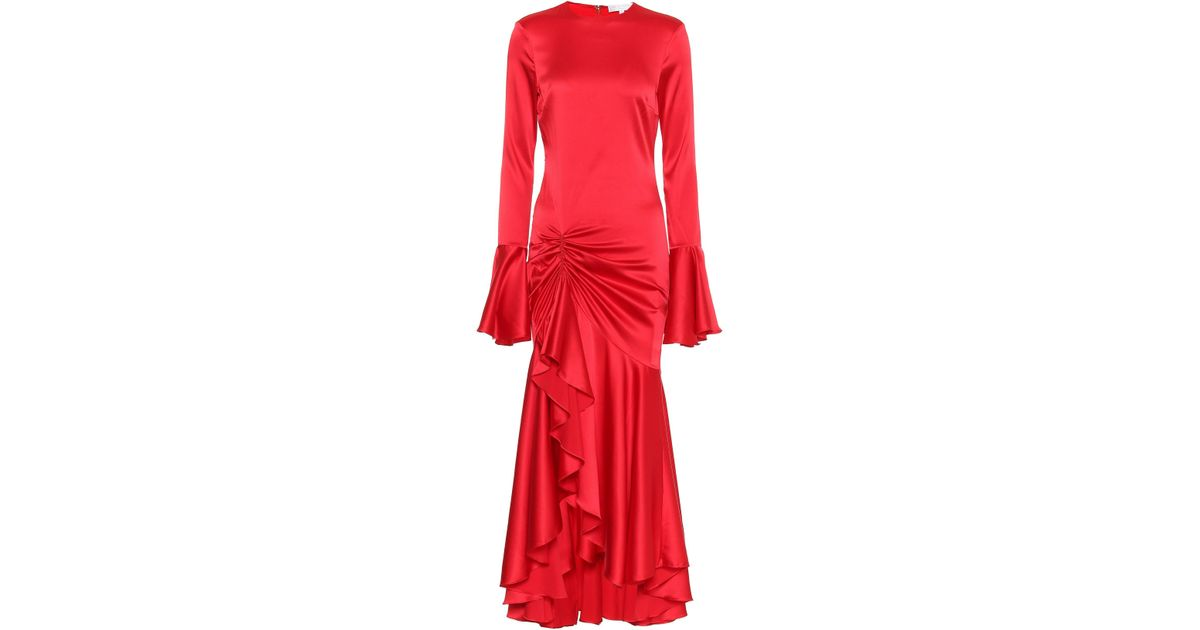 313b63261b4 Caroline Constas Monique Silk-blend Midi Dress in Red - Lyst