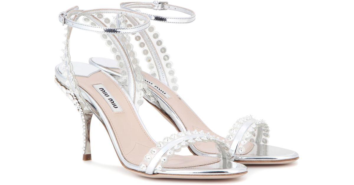 Miu Miu Women's Embellished Metallic Sandal 442o505sB