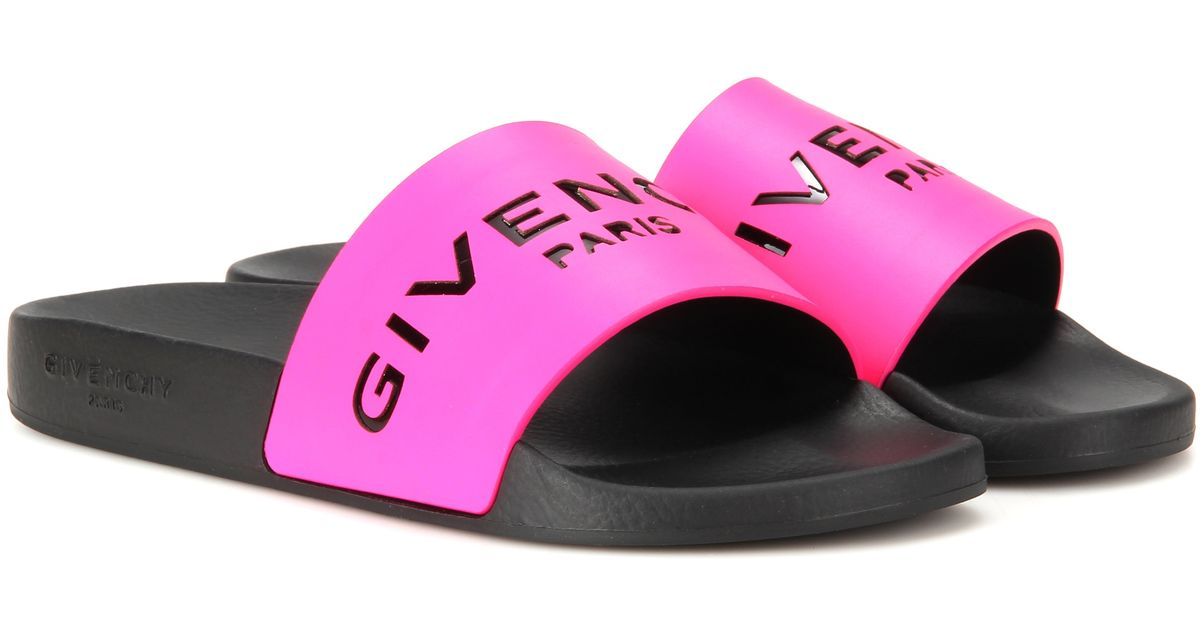 2987fd3347fc Lyst - Givenchy Slide Leather And Rubber Sandals in Pink