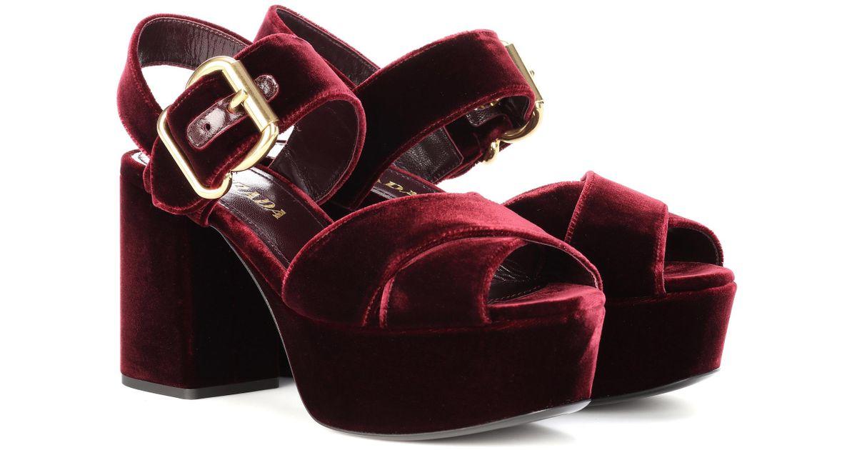 f2bec4f475bb Lyst - Prada Velvet Platform Sandals in Red