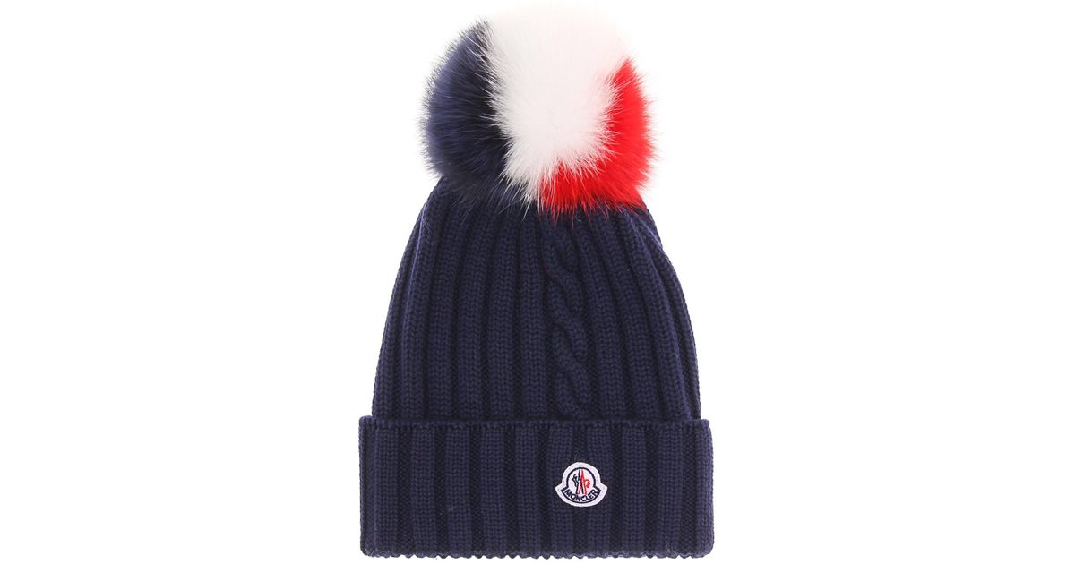 Lyst - Moncler Fur-trimmed Wool Beanie in Black c6a173619c54