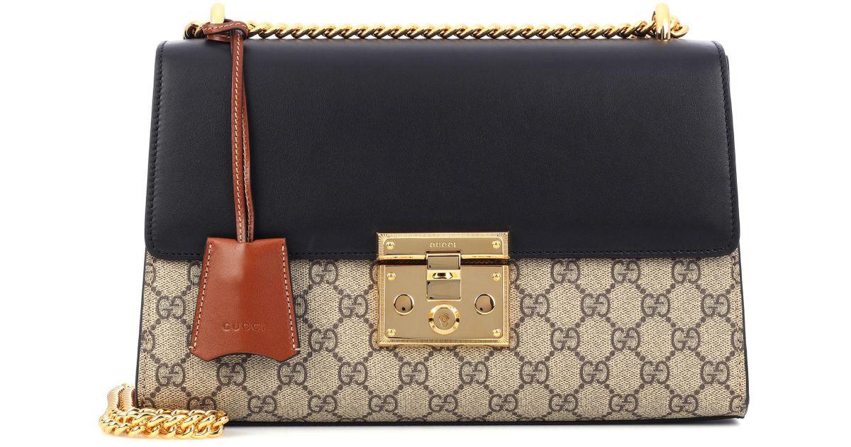 Lyst - Sac à bandoulière en cuir et toile Padlock GG Supreme Medium Gucci  en coloris Noir 436032fa725