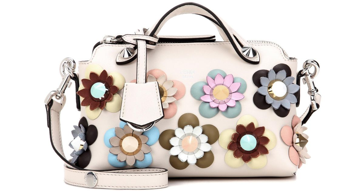 c8d6a5fa18 Fendi By The Way Mini Embellished Leather Shoulder Bag in White - Lyst