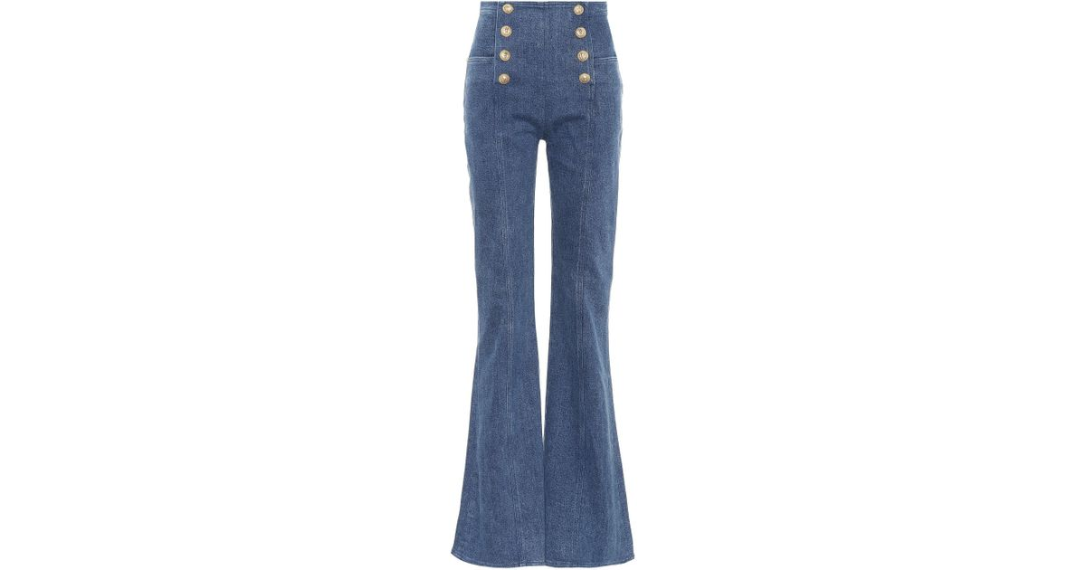 fa14c001fdc Lyst - Balmain High-waisted Flared Jeans in Blue