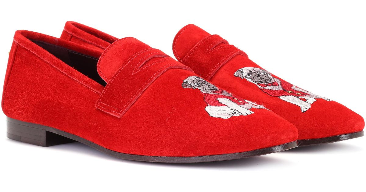 b8b63ba3df4 Lyst - Bougeotte Exclusive To Mytheresa.com – Embroidered Suede Loafers in  Red