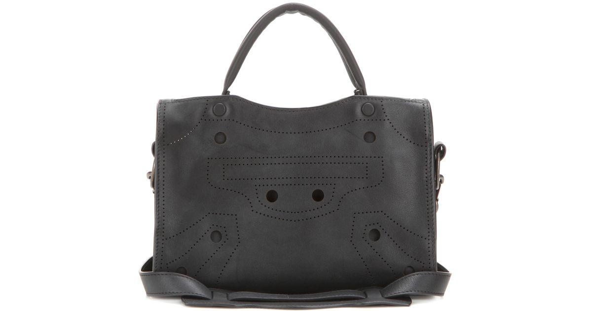 6104022a097a Lyst - Balenciaga Blackout City Mini Leather Cross-body Bag in Black