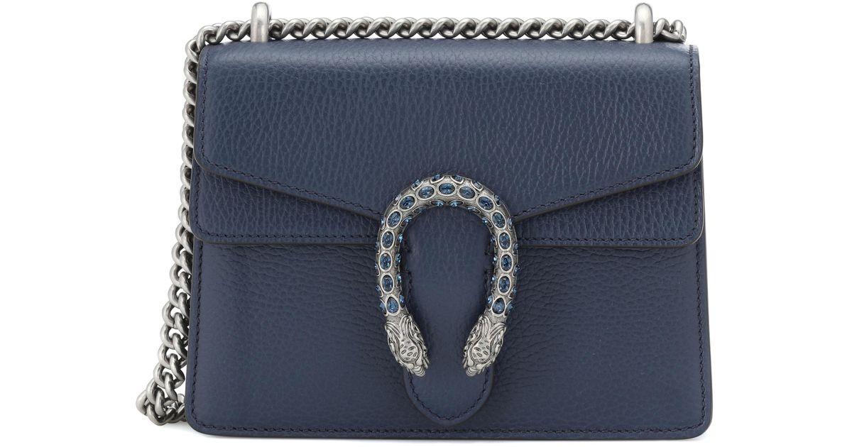 9f3e954c73da Gucci Dionysus Mini Leather Shoulder Bag in Blue - Lyst