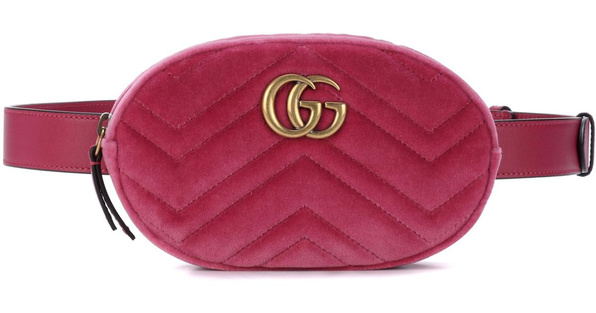 76f9b48b68dc Gucci Marmont Velvet Belt Bag in Pink - Lyst