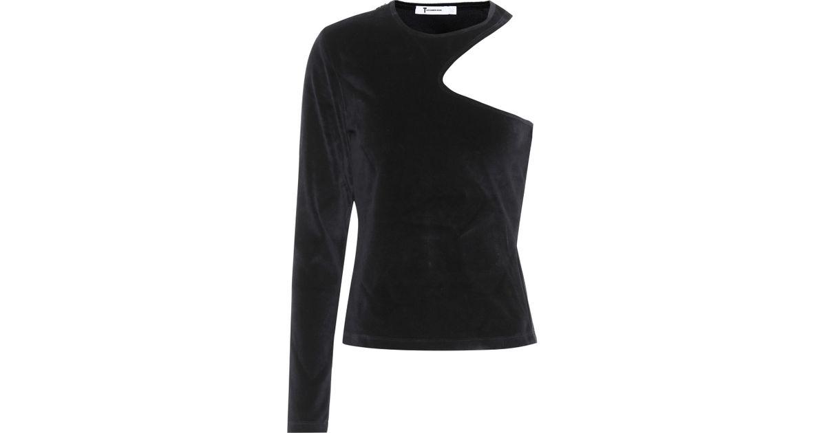 c5e149e46d802 Lyst - T By Alexander Wang Velvet One-shoulder Top in Black