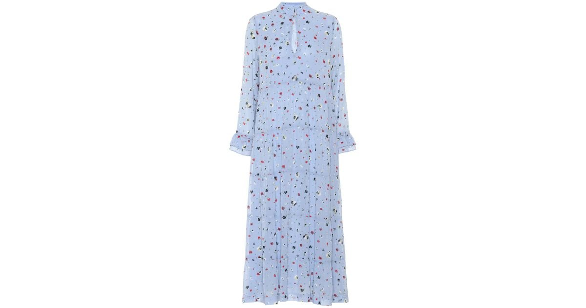 f6743cb0 Ganni Dainty Georgette Floral Midi Dress in Blue - Lyst