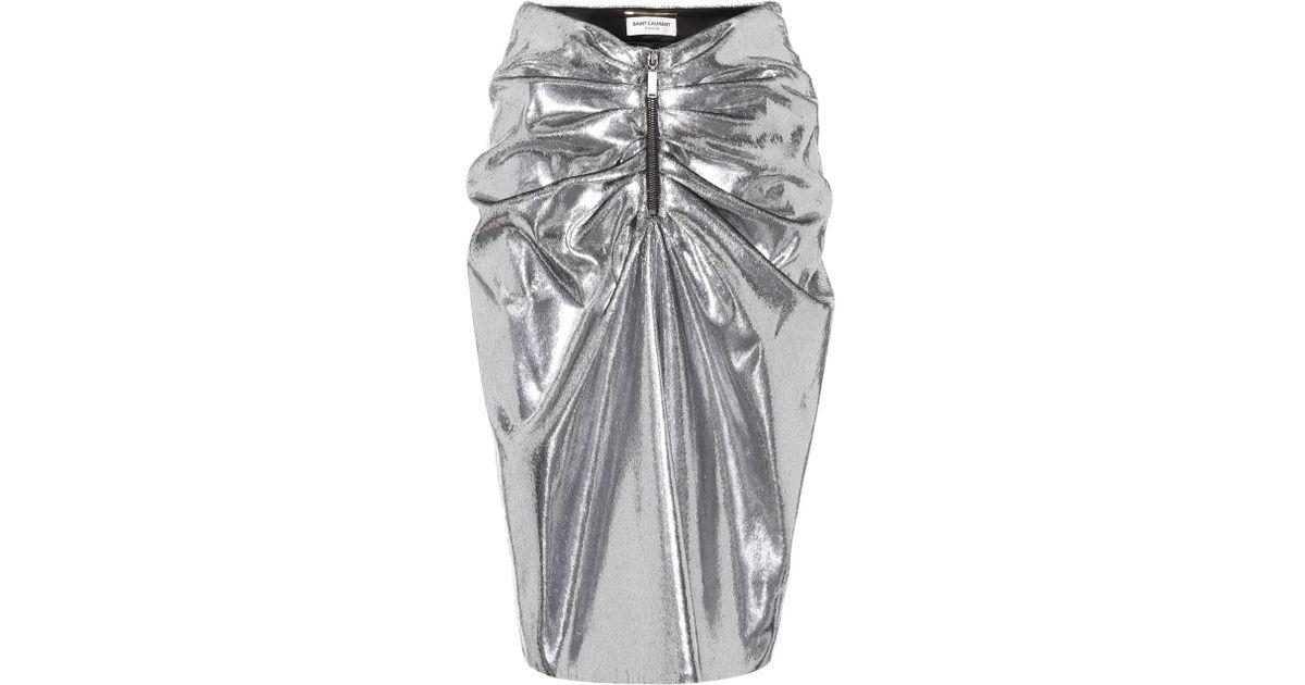 cb7da3c556 Lyst - Saint Laurent Metallic Gathered Skirt