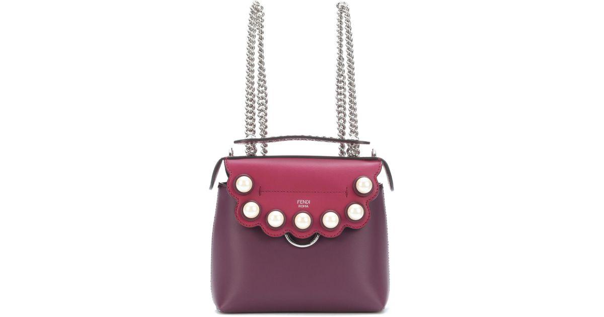 3dab3e1453 Lyst - Fendi Mini Back To School Leather Backpack in Purple