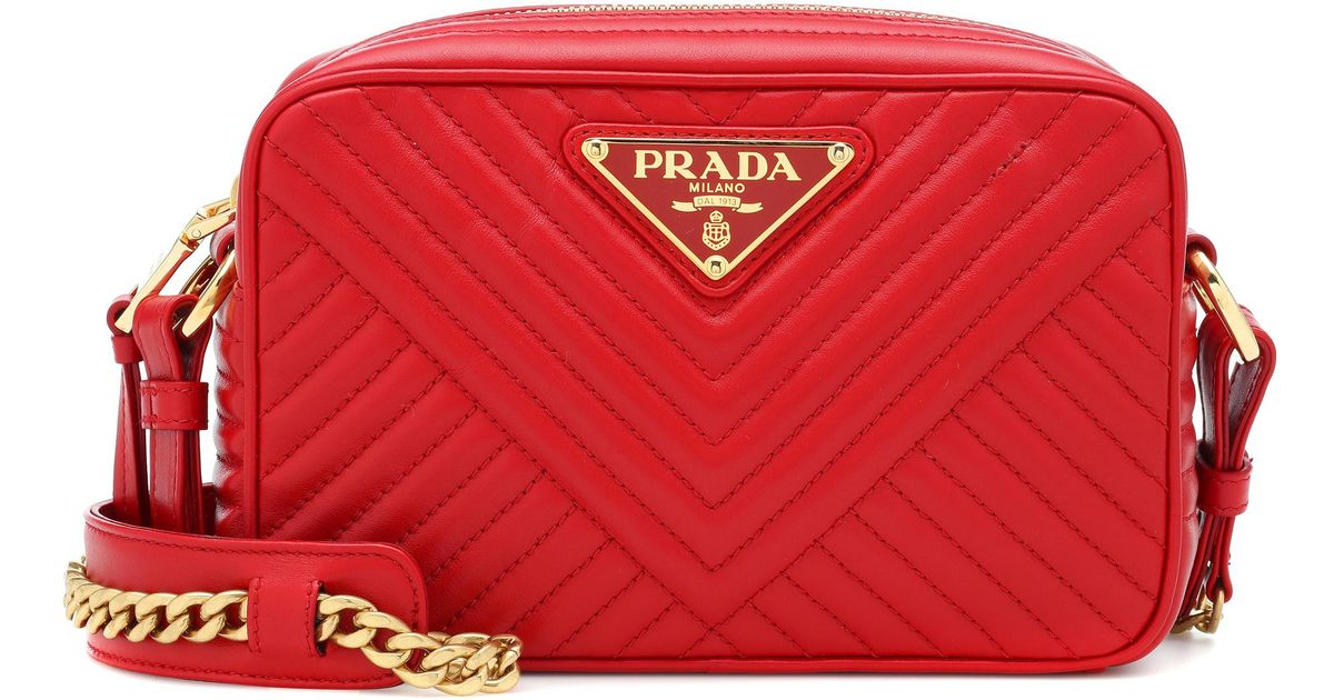 e2203fc852 Lyst - Prada Diagramme Leather Shoulder Bag in Red