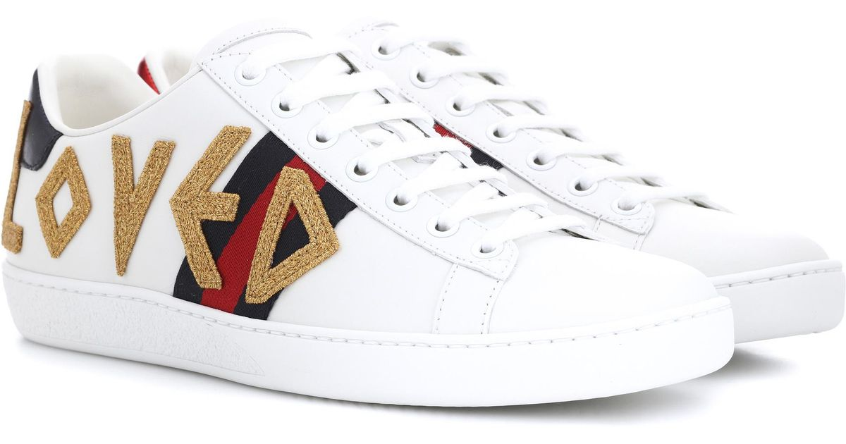 9a107ff8e99c Lyst - Gucci Ace Leather Sneakers in White