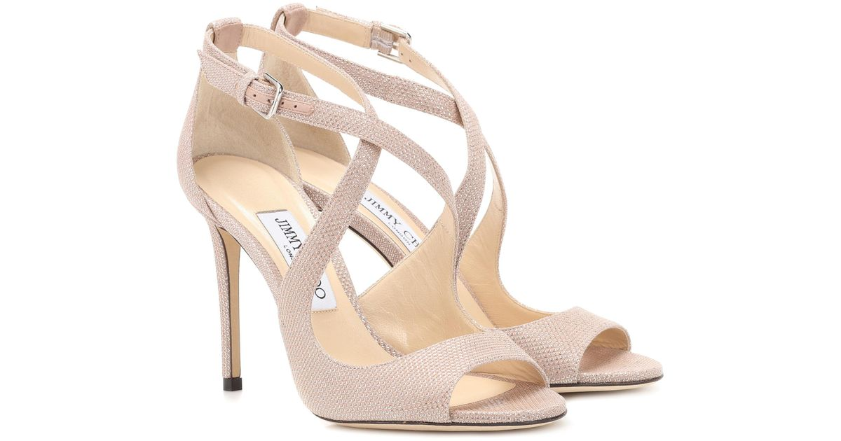 3c65e783759e Jimmy Choo Emily 100 Sandals in Pink - Lyst