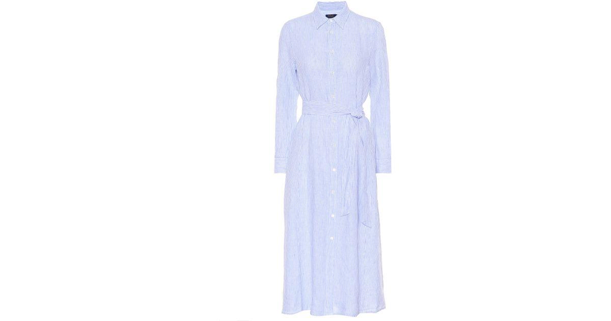 Lin Ralph En Polo Lauren Rayé Coloris Blue Robe Chemise UGjSMVqzpL