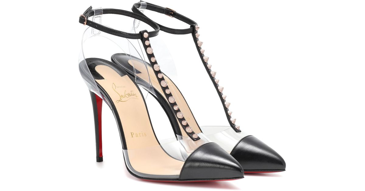 2368acfa3378 Lyst - Christian Louboutin Nosy Spikes Pvc And Leather Pumps in Black