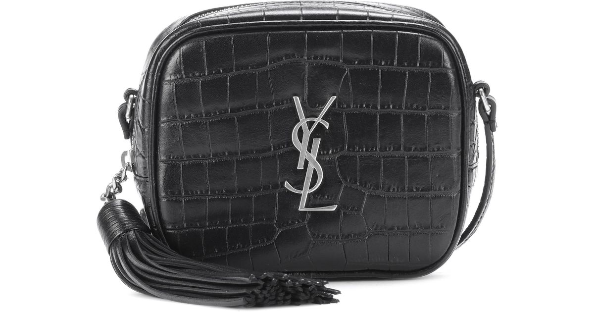 50b3e36fb1 Lyst - Saint Laurent Monogram Blogger Leather Shoulder Bag in Black