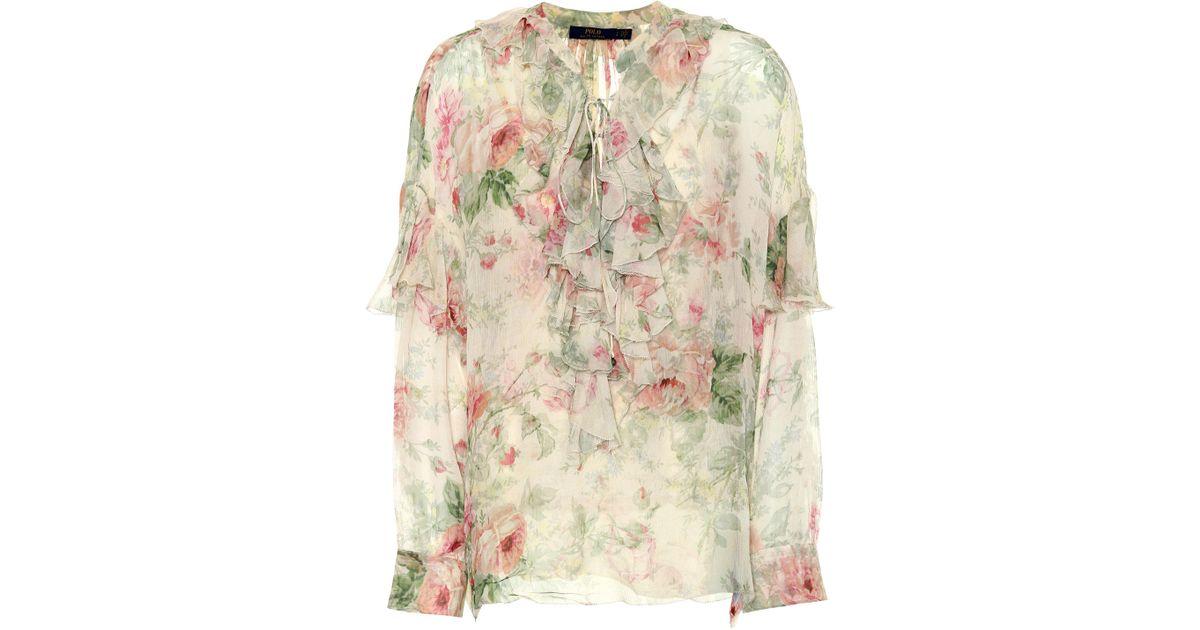 e6ee3a6db Polo Ralph Lauren Floral-printed Silk Blouse - Lyst