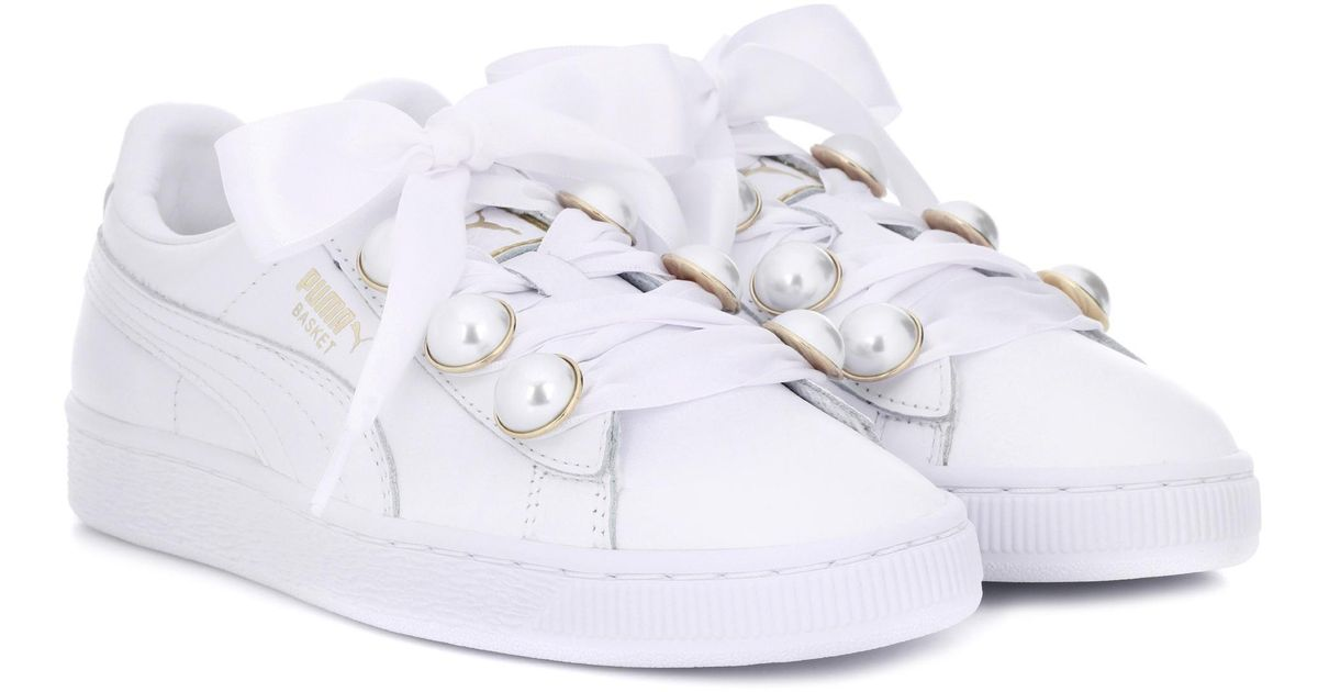 2d4df70a6057 PUMA Basket Bling Leather Sneakers in White - Lyst