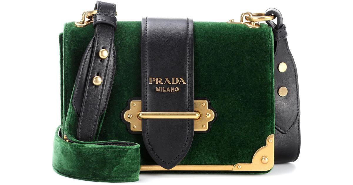f2948e084e ... cheap prada cahier velvet shoulder bag in green lyst 52d2d 53937