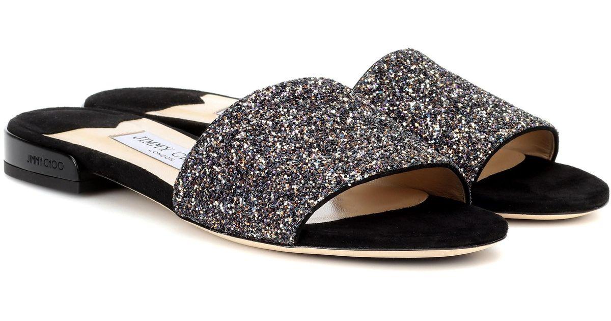 4f8949c6c221 Lyst - Jimmy Choo Joni Flat Leather And Glitter Sandals