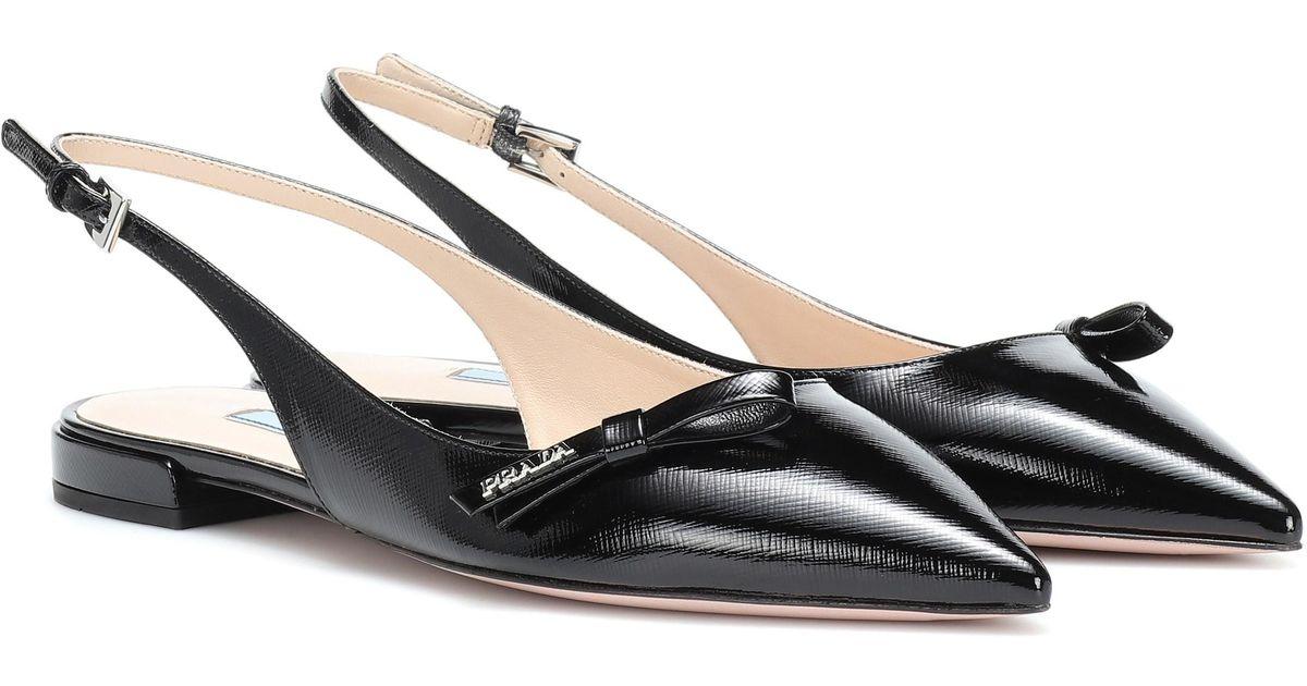 d94baf943f4 Lyst - Prada Leather Slingback Ballet Flats in Black