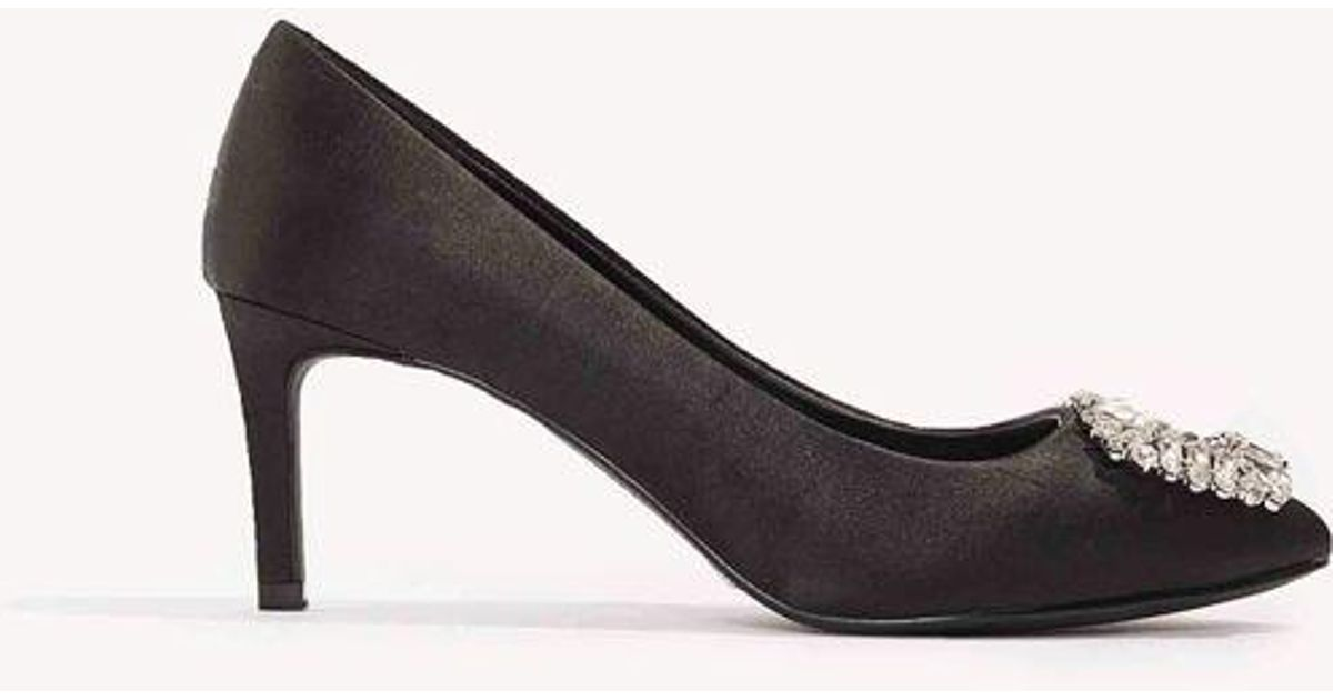 e032300e796 NA-KD - Black Embellished Mid Heel Satin Pumps - Lyst