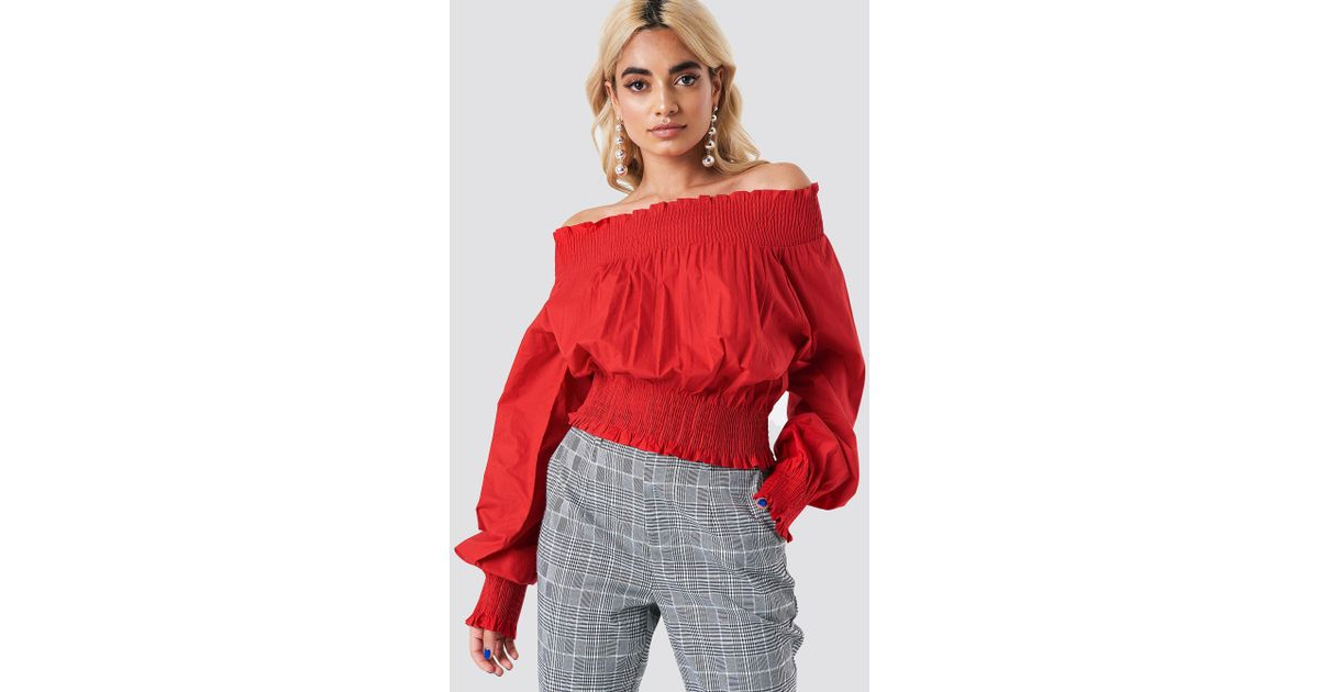 3a200ee15930 NA-KD Balloon Sleeve Off Shoulder Blouse Red in Red - Lyst