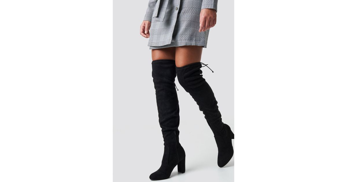 cab3d59899e Lyst - NA-KD Overknee High Heel Boot Black in Black