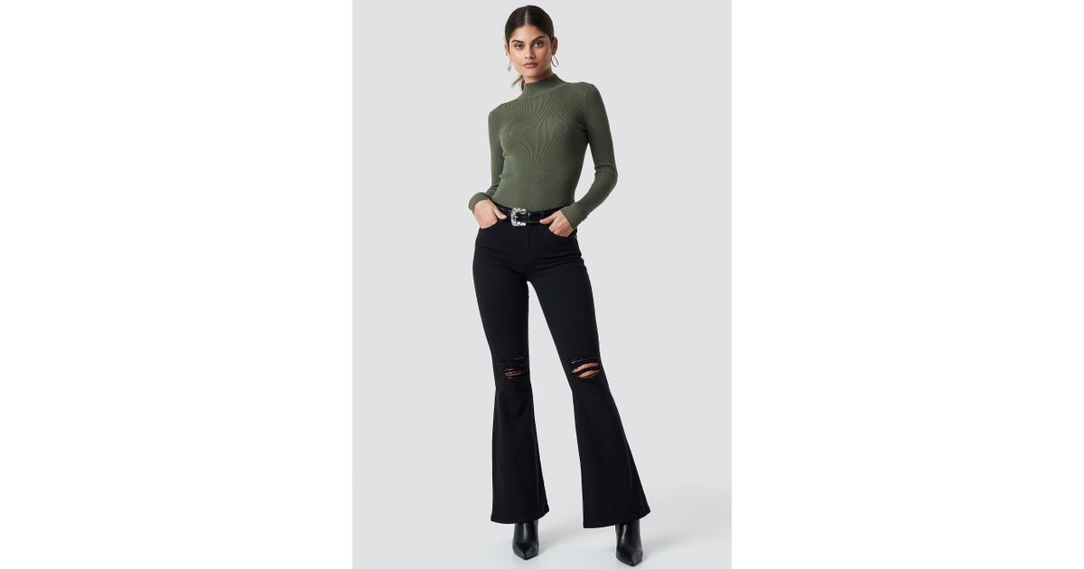 93a75e91a57 Dr. Denim Macy Flared Jeans Black Ripped Knees in Black - Lyst