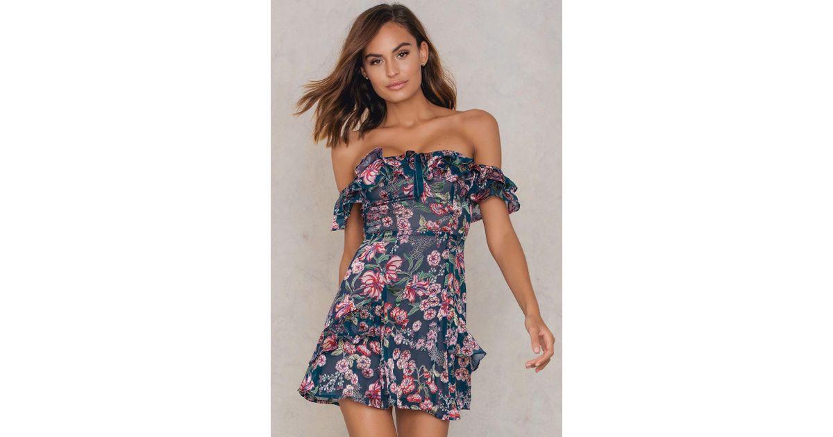 f5136ac3e95 For Love & Lemons Flora Off Shoulder Mini Dress in Blue - Lyst