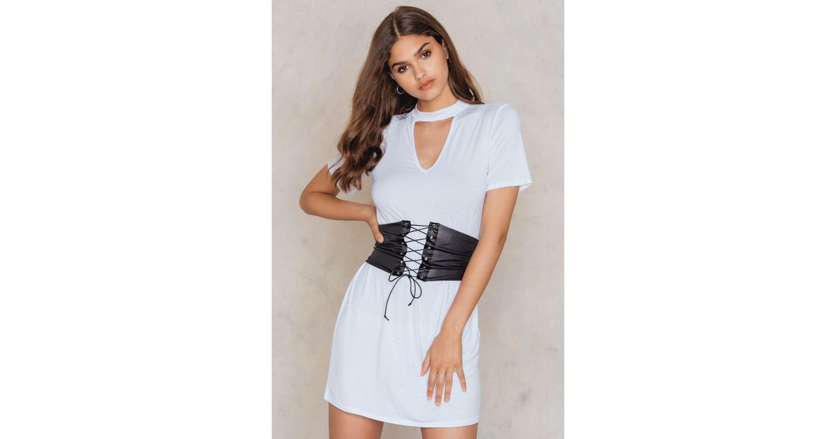 09a5eba4b6 Lyst - Boohoo Choker Corset T-shirt Dress White in White