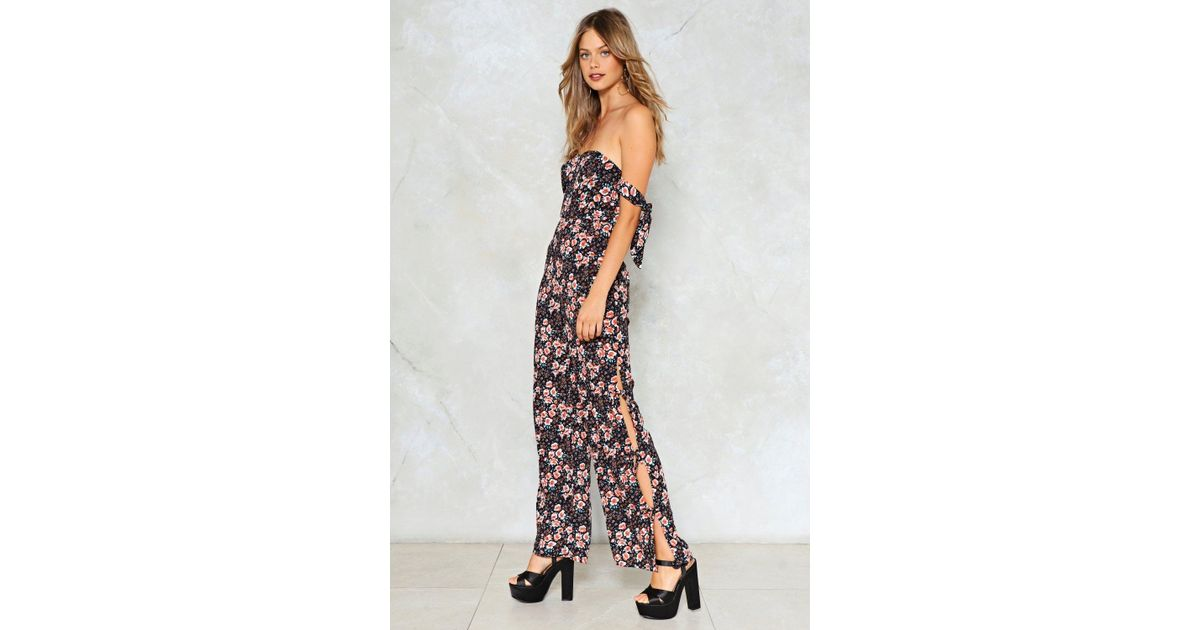 afe18642908 Lyst - Nasty Gal Going Daisy For You Floral Jumpsuit in Blue