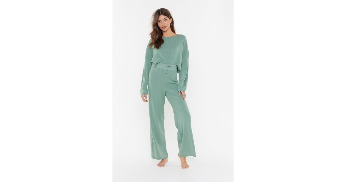 a69c5d5d79 Nasty Gal - Green Slow Down Sweater And Joggers Lounge Set - Lyst