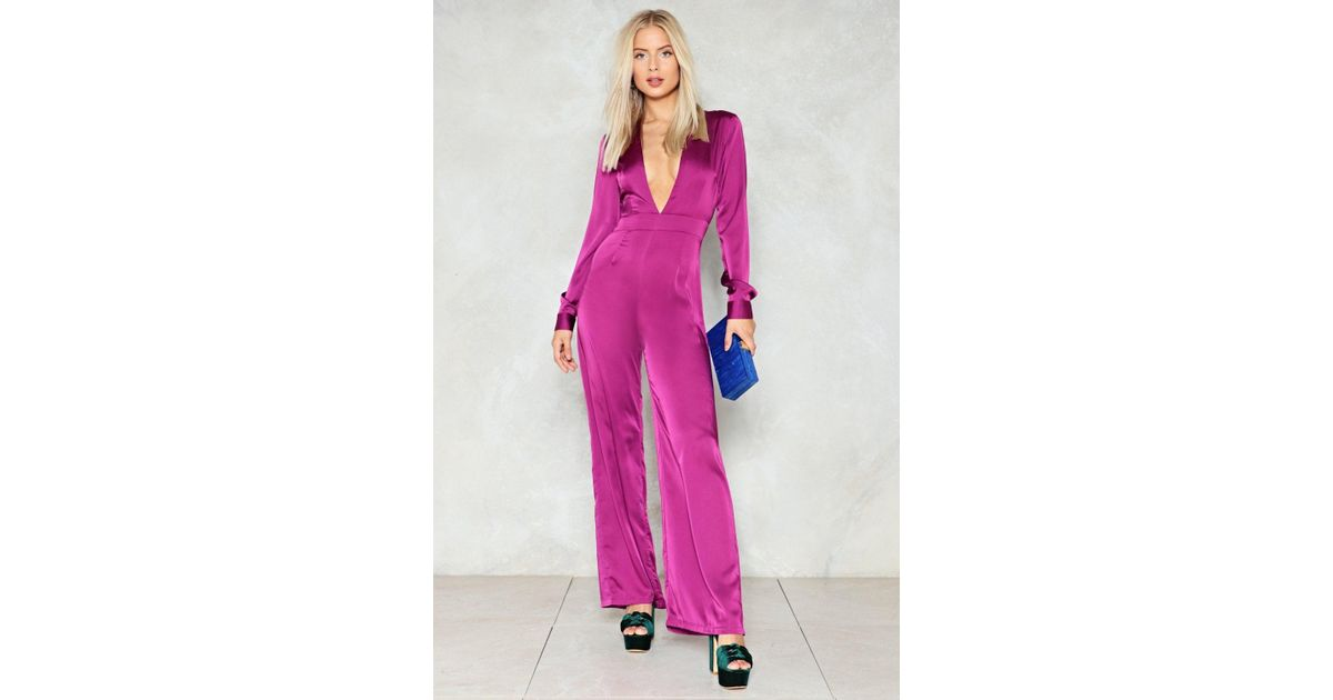 0edcc0dced Lyst - Nasty Gal Deep In My Heart Plunging Jumpsuit in Purple
