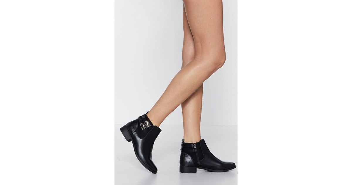 6a571187f1 Lyst - Nasty Gal Croc And Roll All Night Faux Leather Boot in Black