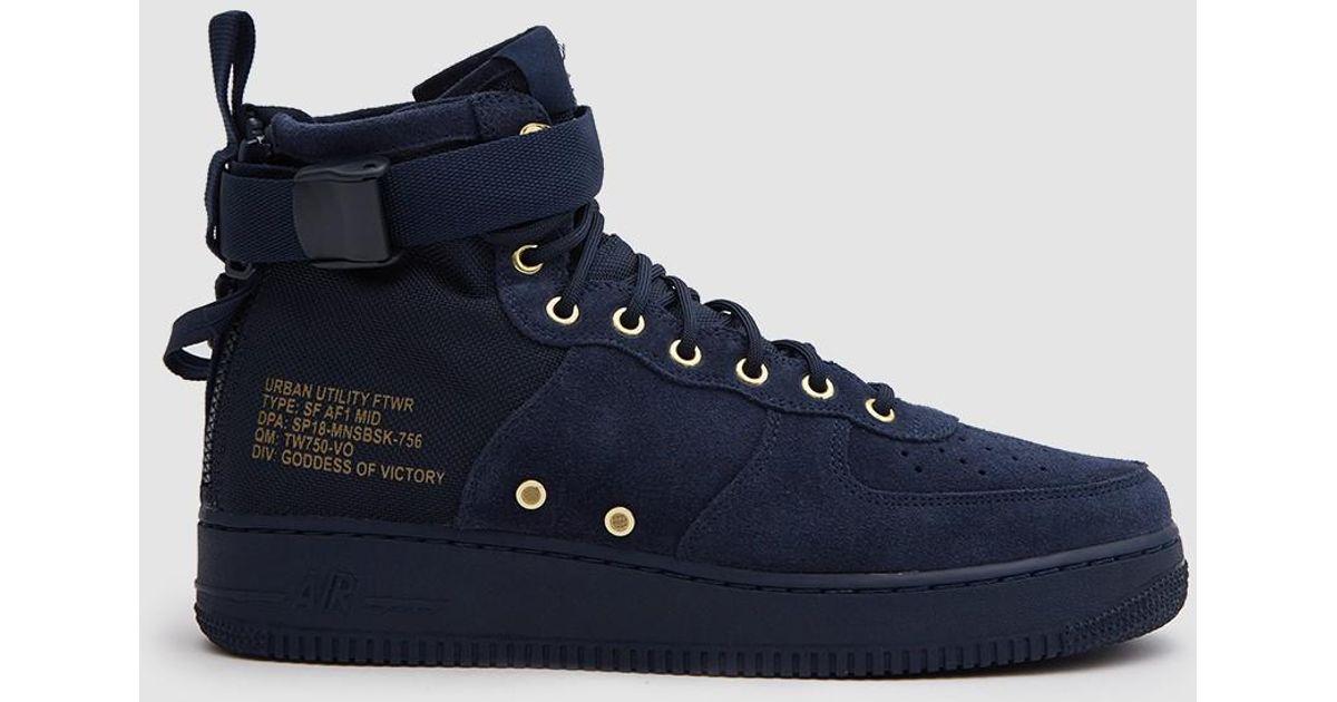 huge discount cc69b 70914 Nike Sf Air Force 1 Mid Shoe In Obsidian/obsidian Black in Blue for Men -  Lyst