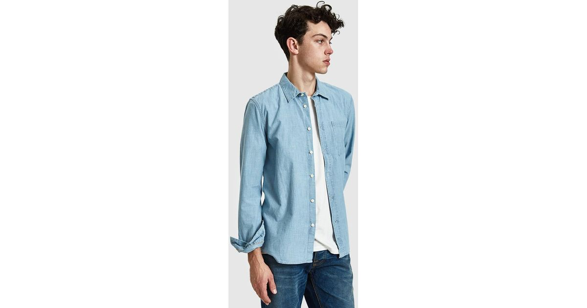 eb6a8d33bd Nudie Jeans Henry Chambray Shirt in Blue for Men - Lyst