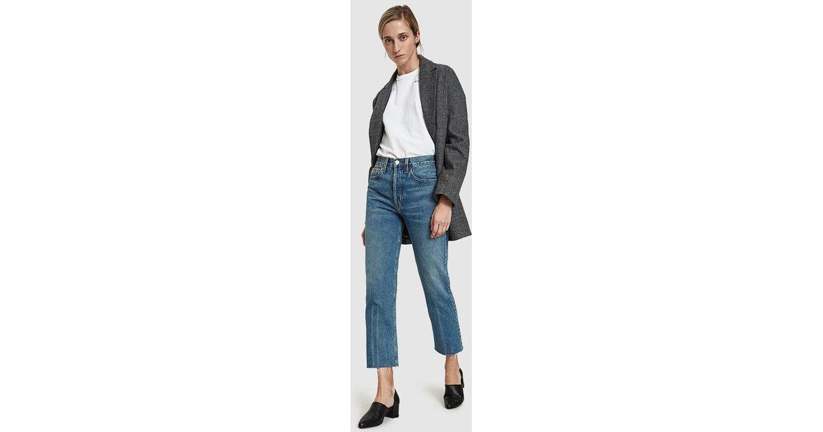 1a00e618cbae Lyst - RE DONE Originals High Rise Stove Pipe Jean in Blue