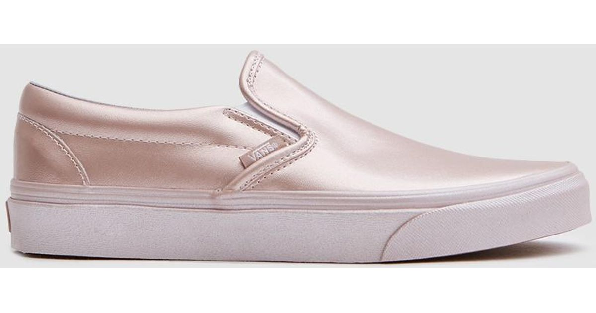 Lyst - Vans Classic Slip On In Metallic Rose Gold in Pink f4a91ce7e