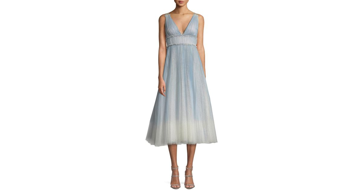 935ac9c0 Marchesa notte Ombre Pleated Tulle Tea-length Cocktail Dress in Blue - Lyst