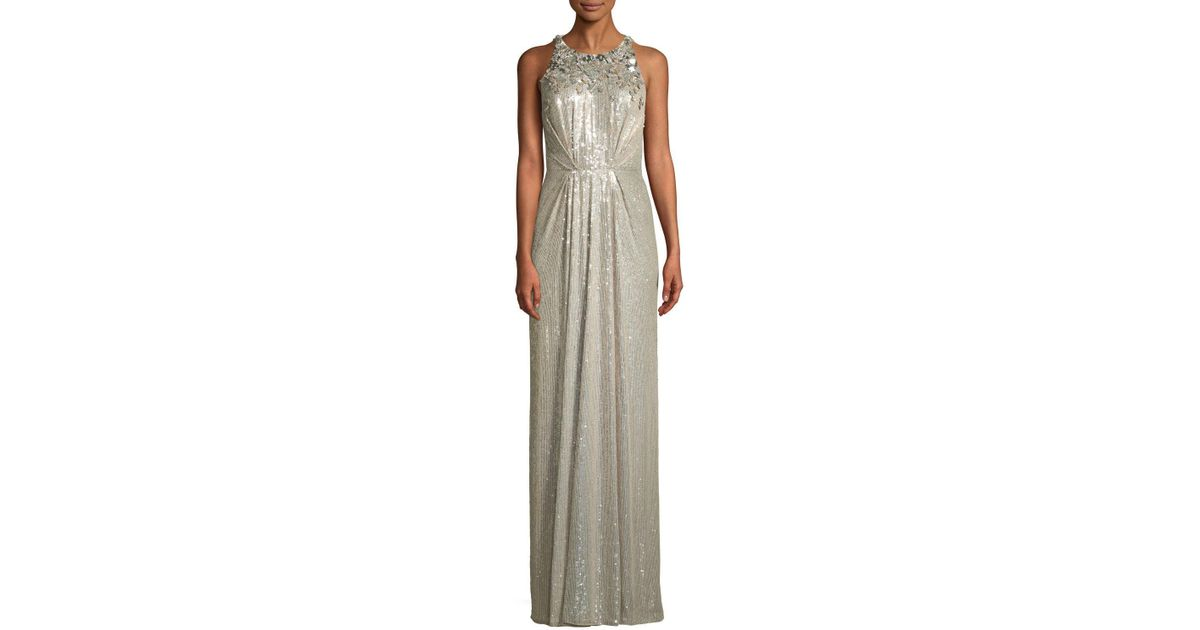 Quality Como Sequin Jewel Neck Gown Jenny Packham Cheap Sale Fake Sale Eastbay Free Shipping For Cheap Buy Cheap Enjoy RVnCo