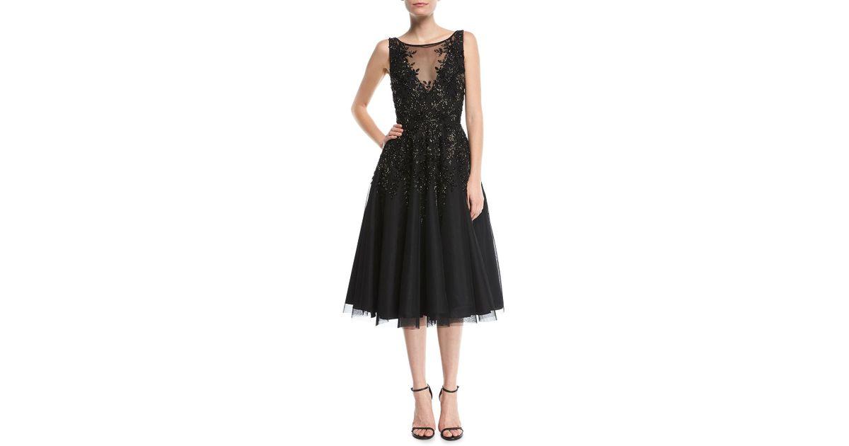 Lyst Aidan Mattox Beaded Tea Length Cocktail Dress In Black