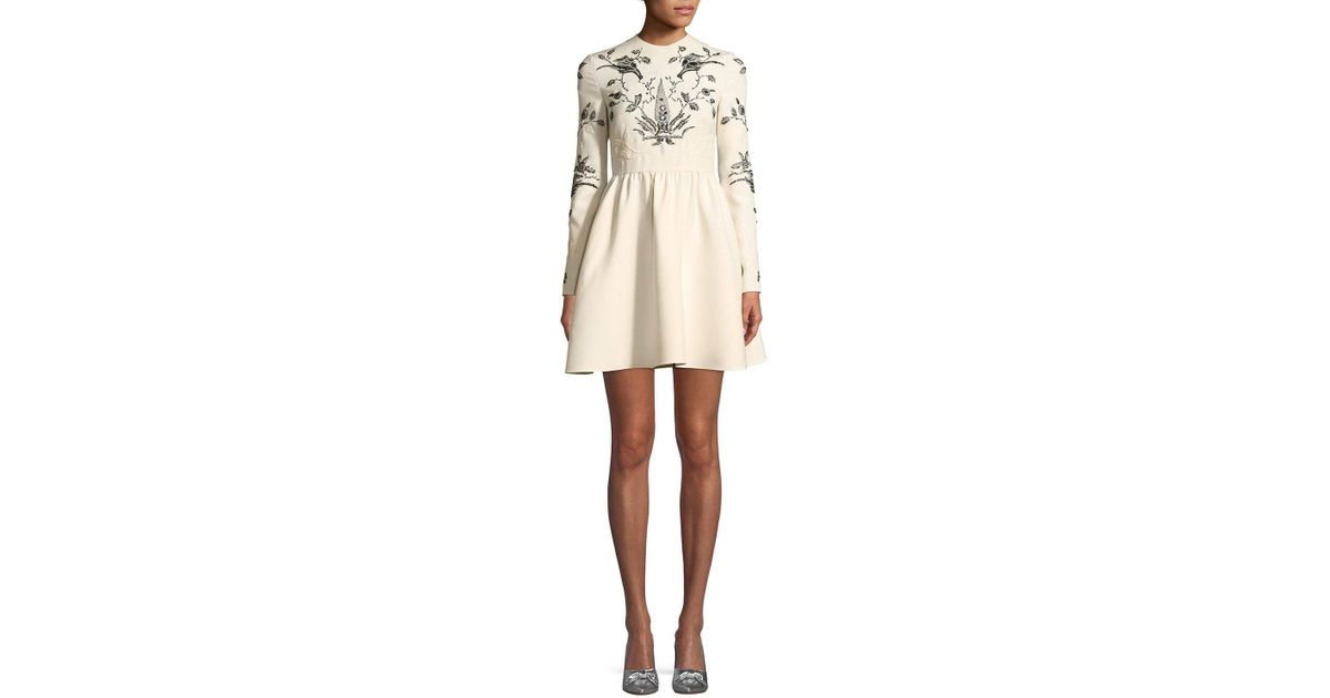 Valentino Long-sleeve Fit-and-flare Mini Cocktail Dress With Lace ...