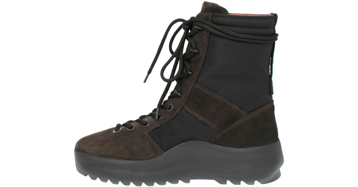 48eef5a64e1ac Lyst - Yeezy Men s Leather   Textile Military Boot in Black for Men