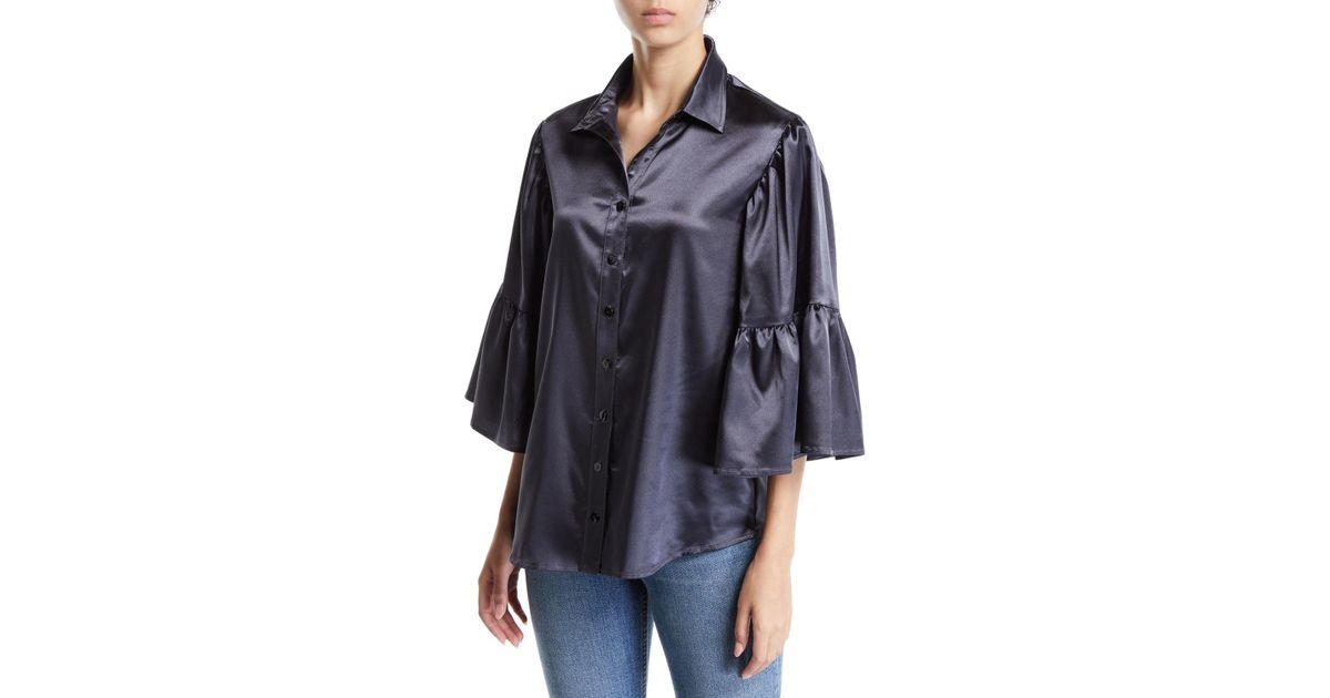 3cdc807aa Lyst - Finley Naomi Satin Button-front Shirt in Black