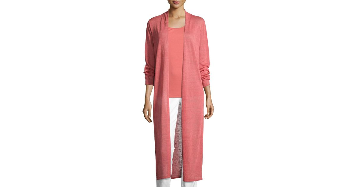 8e74c707ceb Lyst - Eileen Fisher Fine Organic Linen-blend Maxi Cardigan Coral in Pink -  Save 7%